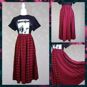 Grunge Patchwork Plaid Midi Maxi Skirt Red Black